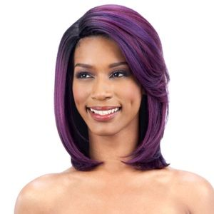 Accessories - Side part synthetic purple red  ombré wig